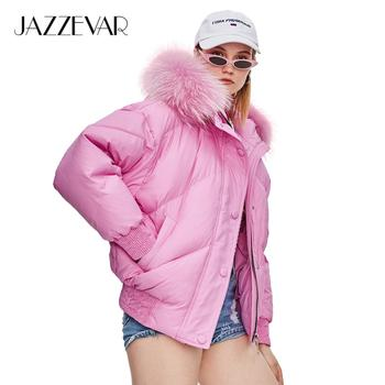 JAZZEVAR 2019 Winter New Fashion Street Designer Brand Womens Short Duck Down Jacket Cute Girls Color Fur Outerwear z18004