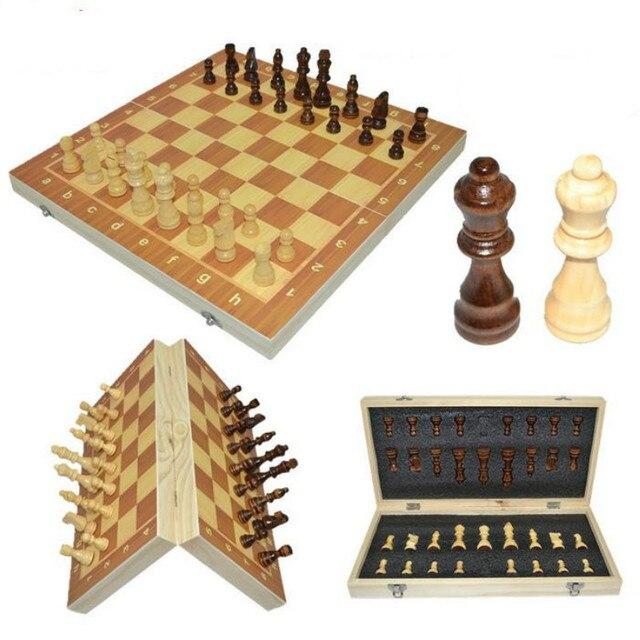 Jeu d'échecs classique en bois, haute qualité plateau magnétique en bois 39cm X 39cm 2