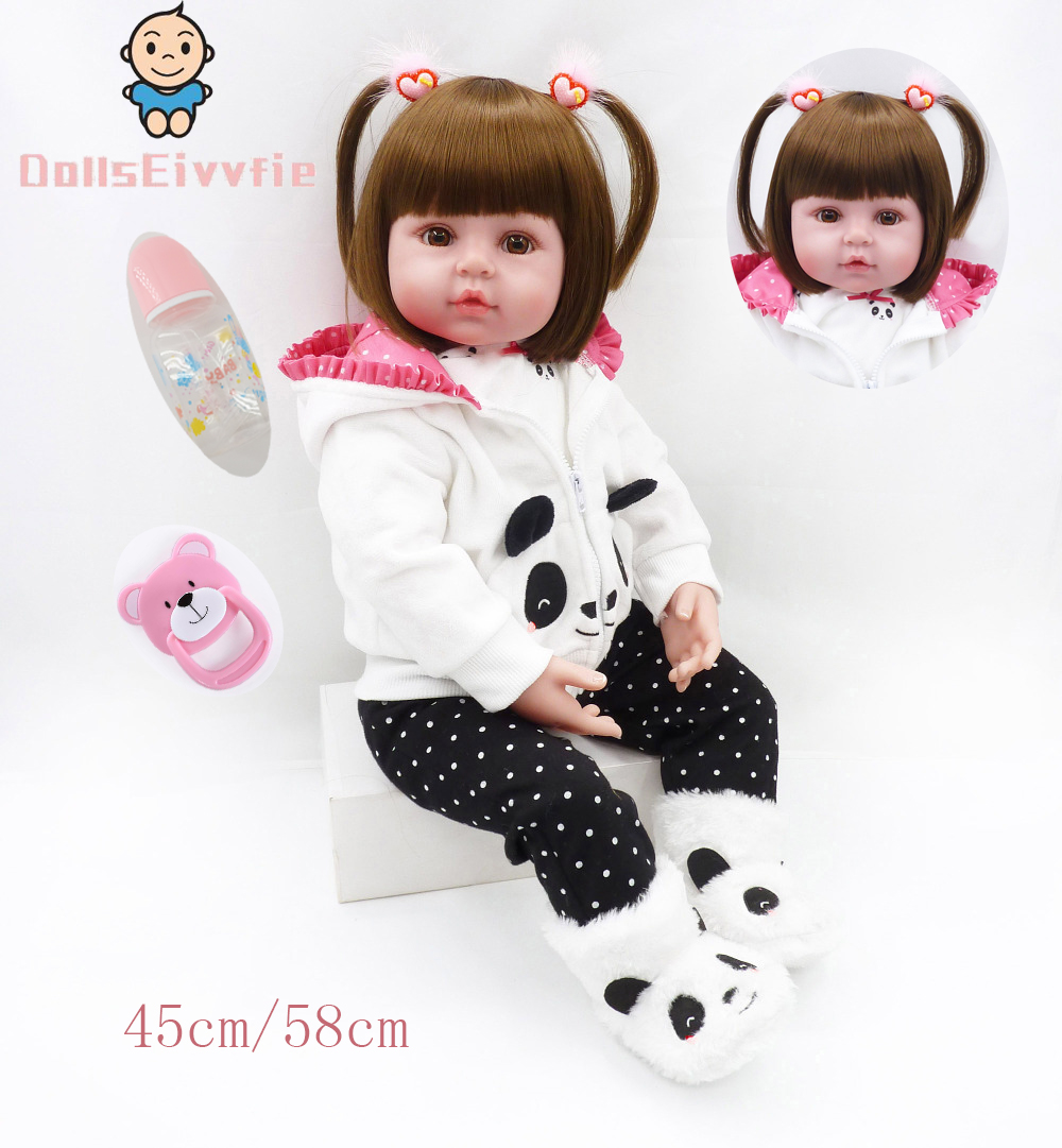 47cm/58cmbaby girl doll cute panda costume realistic bebe reborn to give children the best birthday Christmas surprise gift