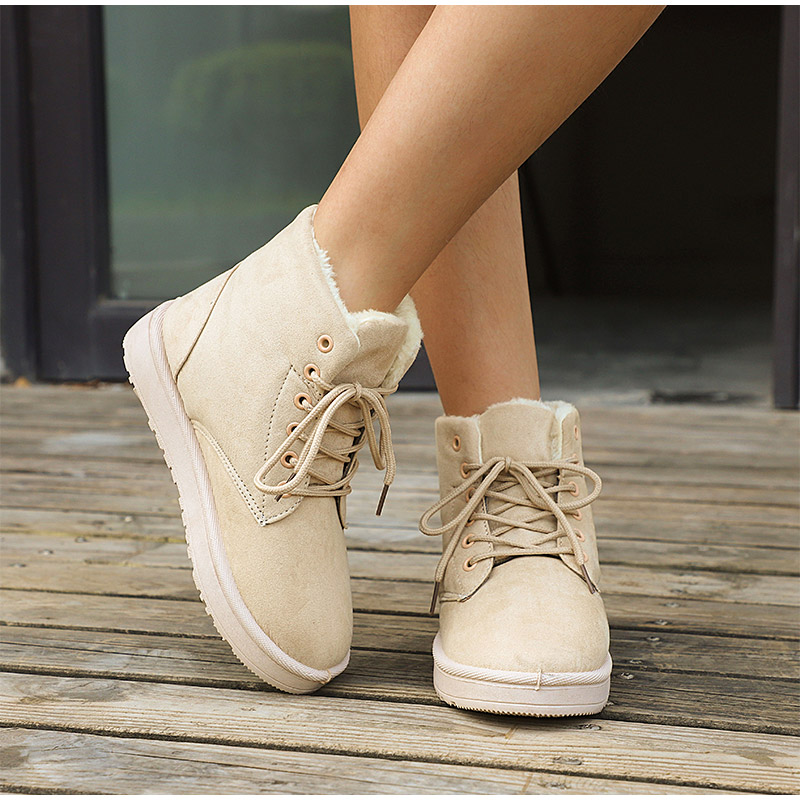 Women Flock Fur Flat Lace Up Winter Snow Suede Ankle Boots Female 39