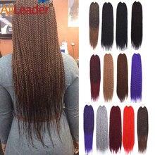 Alileader, 18 дюймов, мягкие синтетические натуральные Сенегальские скрученные волосы, вязанные крючком косички, серый, Омбре, черный, коричневый, косички, наращивание волос, 30 корней