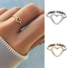 Anéis femininos nos dedos coração oco melhores amigos doce presente para meninas adolescentes tamanho 5-10 anéis que você pode usar todos os dias ouro simples
