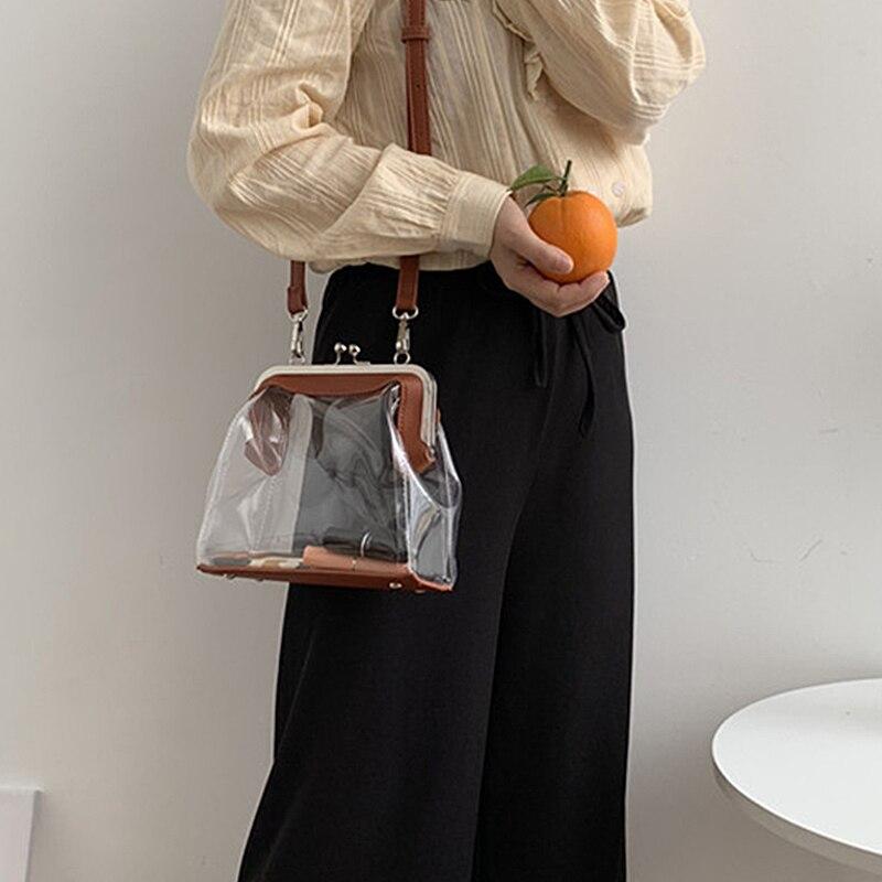 2019 New Women Summer Beach Bag Clear PVC Transparent Bags Shoulder Waterproof Small Crossbody Messenger Bags Handbags Totes