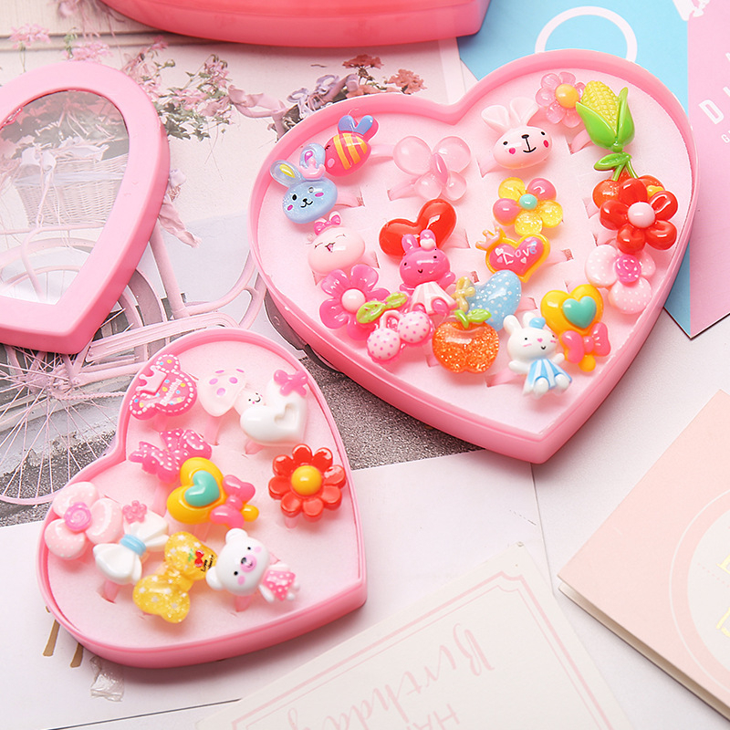 Resin Cartoon Rings For Girls Children Dress Up Accessories Party Kids Toy Random Color Cute Candy Scrub Gift Boxed Set New