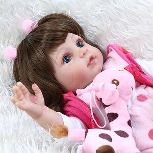 Image 3 - NPK 48CM popular full body soft silicone bebe doll reborn baby girl in the giraffe dress set Christmas Gift neborn baby