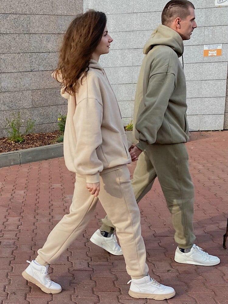 Sweatshirt Pants Suits Hoodies Lavender Fleece Tangada Women 100%Cotton-Suit Plus-Size
