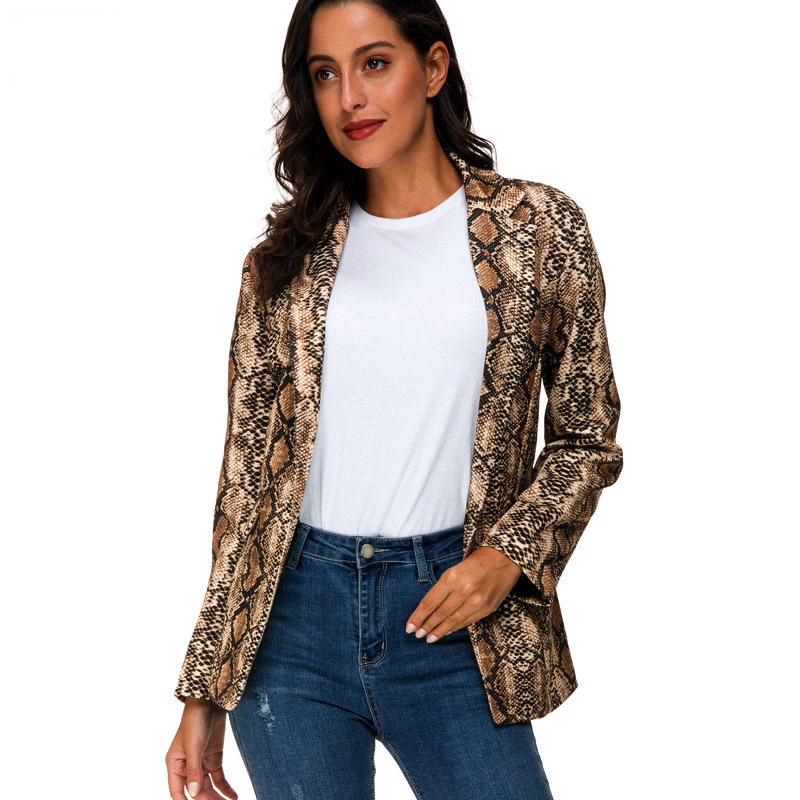 Women Urban Leisure Snake Pattern Printing Suit Lady Casual Thin Slim Fit Loose Small Blazer Loose Coat Autumn Winter 2019