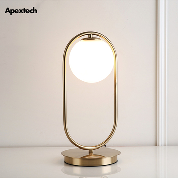 Original Iron Art Glass Ball LED Table Lamp Bedside Desk Lights Living Dining Guest Room Table Deco Lights with Switch