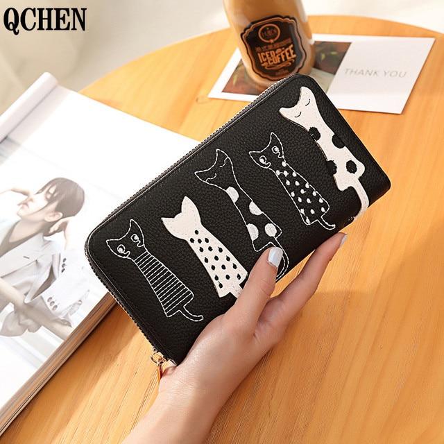 Women Cat Cartoon Wallet Luxury High Quality Creative Female Card Holder Casual Zip Ladies Clutch PU Leather Coin Purse 179Q 2