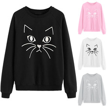 Fashion Sweatshirt Top New Kawaii Cat Print Round Collar Ladies Tops Womens Turtleneck