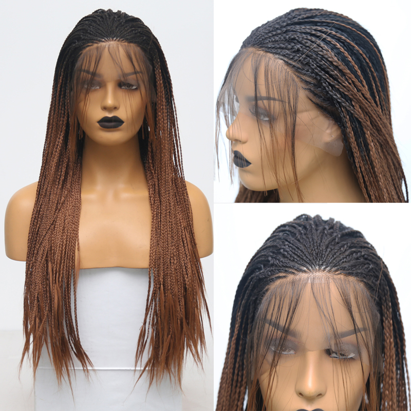 Rongduoyi Long Two Tone Color Synthetic Lace Front Braids Wigs For Women Ombre Brown High Temperature Fiber Hair Braided Wigs