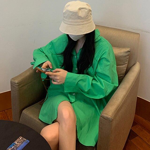 [EWQ] Korean Chic Spring Temperament Light Green Shirt Coats Women Loose Casual Blouse Turn-down Collar Blouse 2021 Summer 1