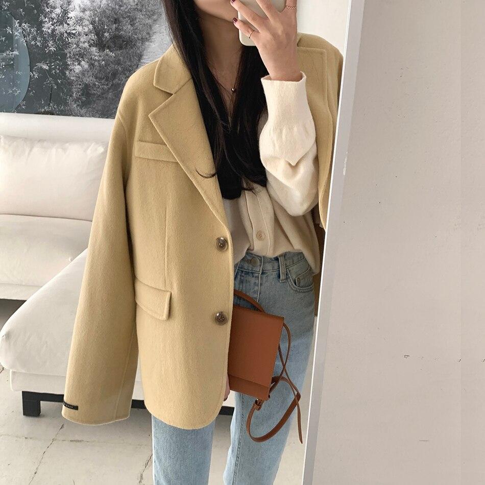 H145b7889bcf542108a372dc75eaf38ff9 - Winter Korean Revers Collar Solid Woolen Short Coat
