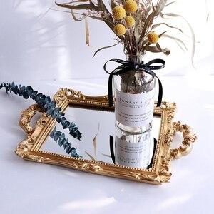Европейские зеркальные Ювелирные изделия из смолы, серьги, ожерелье, поднос, цветочное зеркало, поднос для хранения, украшение для дома