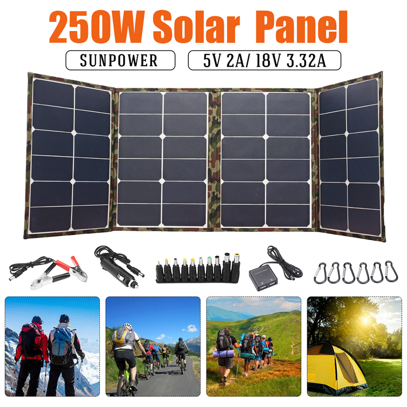 250W Foldable Solar panel 18V Solar Panel for camping solar cell Charger for Mobile Power Bank for Phone Battery DC/USB Port image