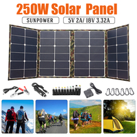 250W Foldable Solar panel 18V Solar Panel for camping solar cell Charger for Mobile Power Bank for Phone Battery DC/USB Port