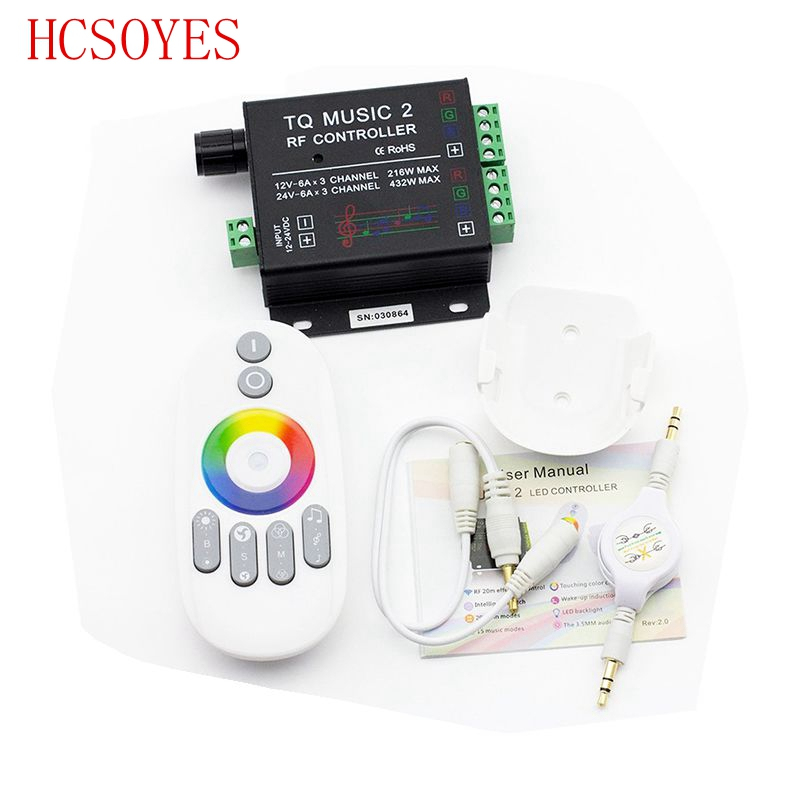 Music 2 Controller RGB LED Controller RF Music Audio Control 18A 3 Channel TQ For SMD 3528 5050 5630 Led Strip Light
