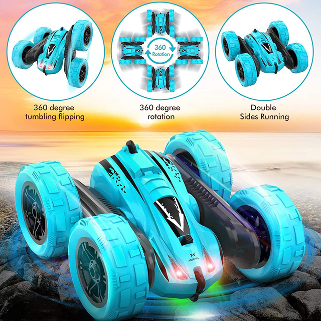 4WD RC Car 2.4G Radio Remote Control Car 1:24 Double Side RC Stunt Cars 360° Reversal Vehicle Model Toys For Adult Children Boy 3