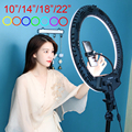 LED Ring Light RGB 18 inch 22 inch Dimmable Selfie Ring Lamp Photo Studio with Stand Photography Lighting for youtube Video