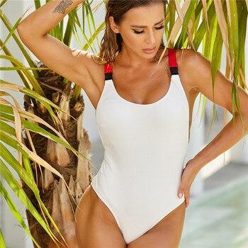 Frauen Badeanzug Strap Quer Push-Up  1