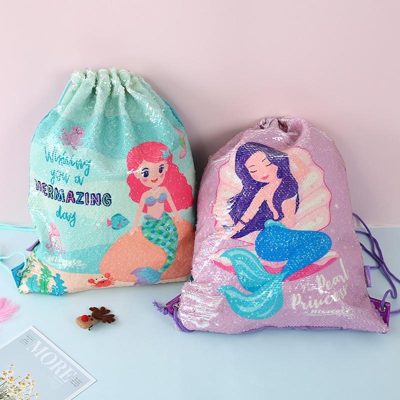 Unicorn Sequins Drawstring Backpack Girls Double Rope Cartoon Drawstring Women Organizer Bag Travel Storage Package