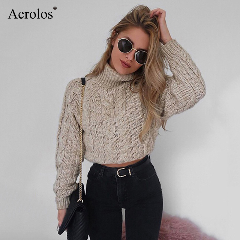 Turtlenecks Sweaters For Women Fashion Slim Cropped Jumpers Knitwear Autumn Fashion Solid Pullover Female Basic Sweater Femme