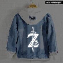 Новая весенняя толстовка с капюшоном Legend of zelda, джинсовая куртка с принтом аниме, светящаяся Мужская и женская модная куртка