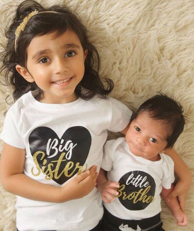 Little Big Sister Brother Matching Outfits Kid Baby Boy Girl Romper T Shirt Tops