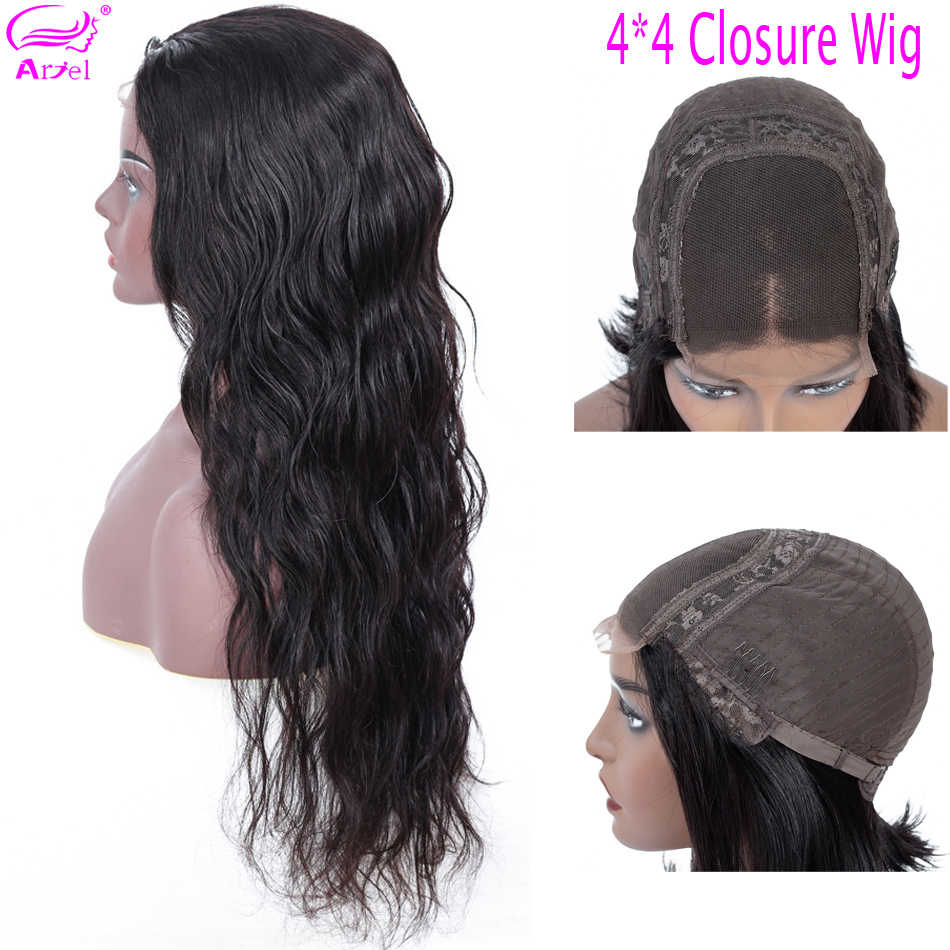 4×4 Closure Wig Body Wave Wig Human Hair Wigs For Black Women Brazilian Wig Non Remy Brown Glueless Lace Wigs Human Hair Ariel