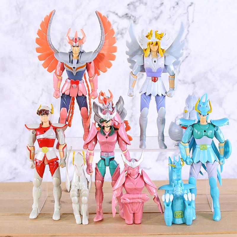 Anime Saint Seiya Hyoga Ikki Shun Shiryu PVC Action Figures Figurines Kids Toys Birthday Gift 10pcs/set