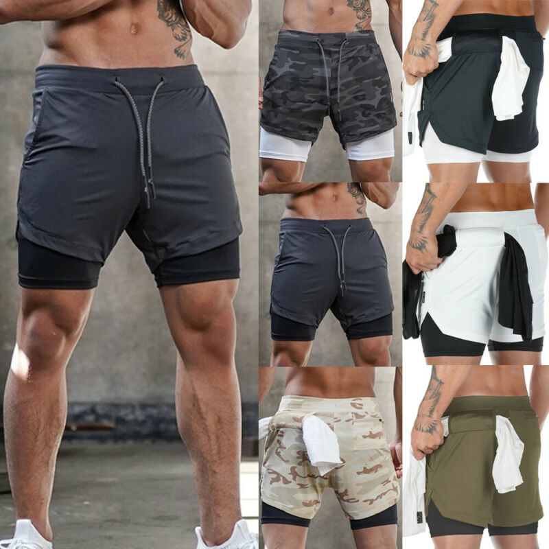 2020 Summer Mens Casual Shorts Gym Training Shorts Drawstring Camo Shorts Workout Sports Fitness Men Lined Running Shorts