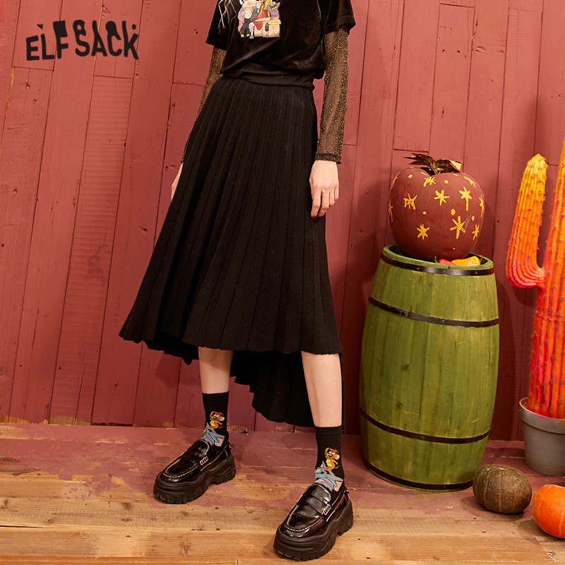 ELFSACK Black Solid High Low Vintage Casual Knit Pleated Skirt Women 2020 Spring Gray Korean Irregular Long Ladies Daily Skirts
