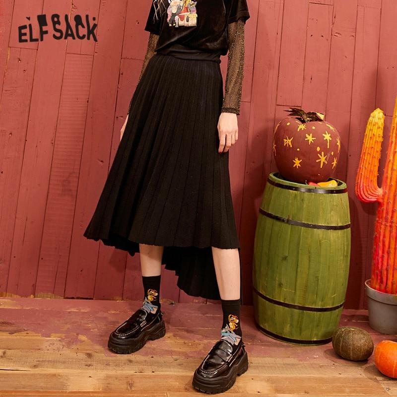 ELFSACK Black Solid High Low Vintage Casual Knit Pleated Skirt Women 2020 Spring Gray Korean Irregular Long Ladies Daily Skirts