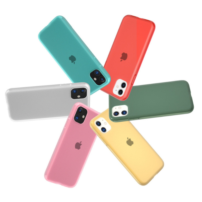Candy Color Clear Matte Latex Silicone Case For iphone 11 Pro Max Xr Xs X + 7 8 Plus 6 6S Anti-knock Cute Coques Cover image