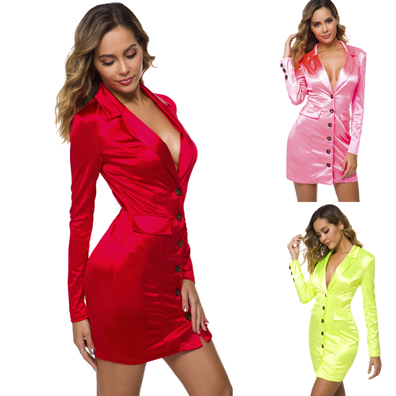 Trendy Woman Satin Blazer 2019 Shiny Long Jacket Dress Hot Pink Red Green Outwear Single Breasted Coat Stage Suit MS-DZT1006
