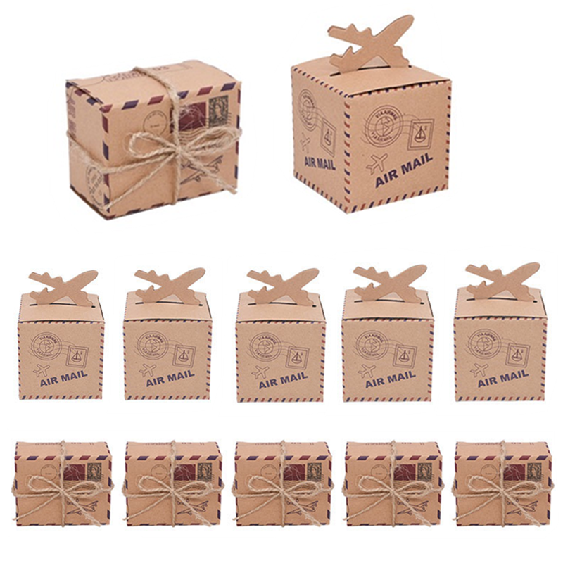 10/20/30/50pcs Mini Vintage Kraft Paper Travel Gift Box Candy Chocolate Snack Boxes Wedding Party Favors Packaging Bags Supplies