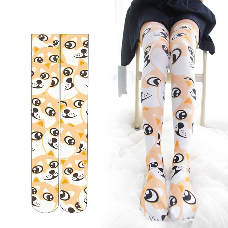 SzBlaZe 3D Print Funny Dog Thigh High Stockings Kawaii Thigh High Socks Funny Cute Over Knee Socks Printedknee High Stockings