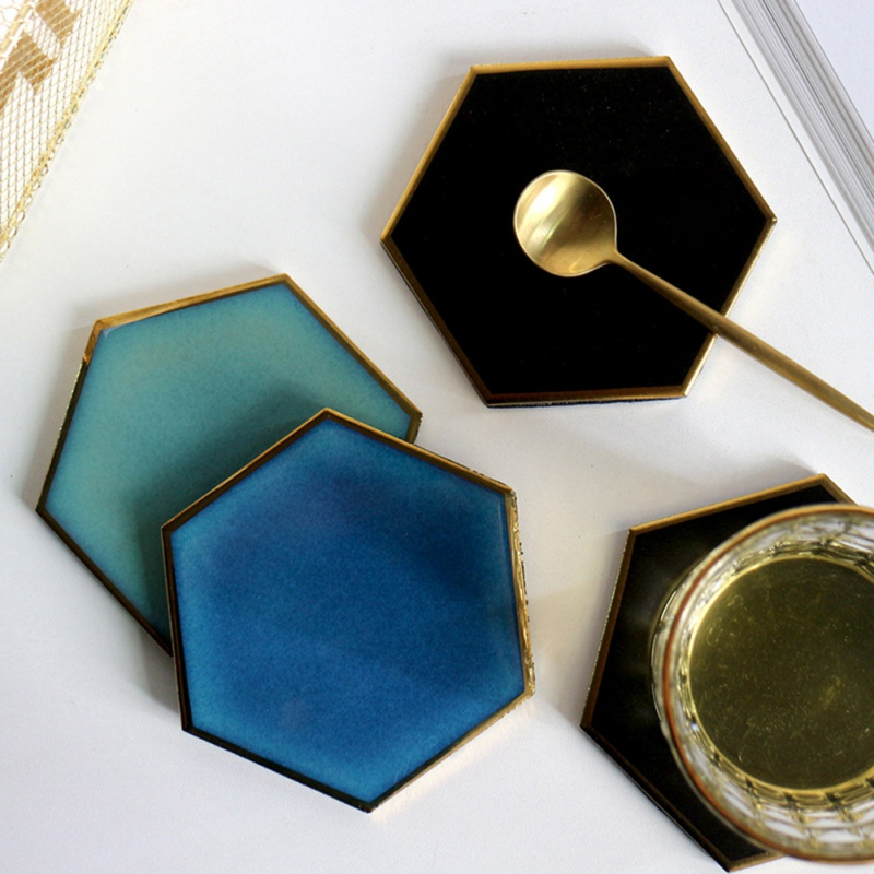 Hot Offer 1936 1pc Ceramic Coaster Nordic Hexagon Gold Plated