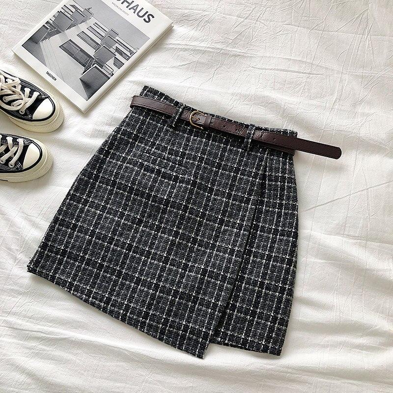 Vintage Women Plaid High Waist Mini Skirt 9