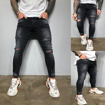 Pencil Pants Slim Men Trousers Skinny Jeans Gothic Denim Ripped Mens Summer Hole Cowboys Q30