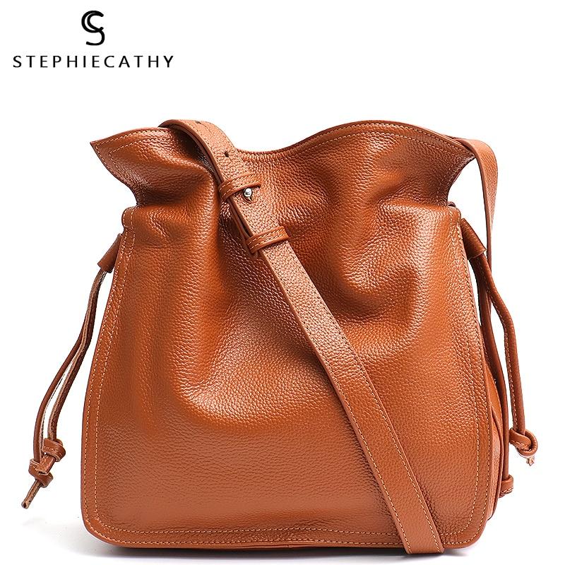 SC Fashion Leather Bucket Handbag For Women Crossbody&Messenger Hobo Ladies Luxury Shoulder Bag Drawstring Snap Real Leather Bag