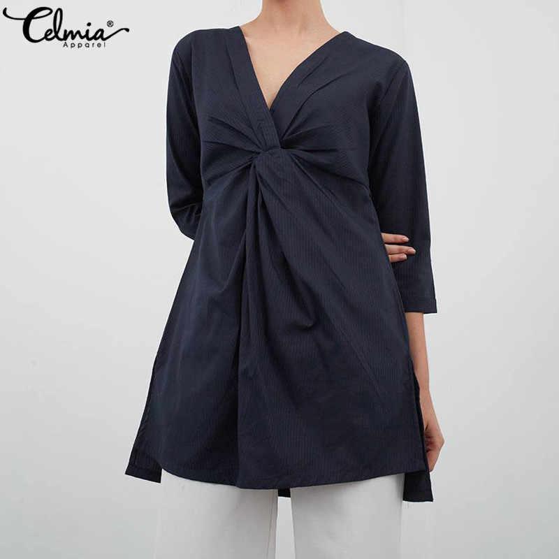 Cellia винтажная льняная блузка 2019 Летняя женская длинная свободная рубашка сексуальная туника с v-образным вырезом Топы Плюс Размер Blusas женские блузки