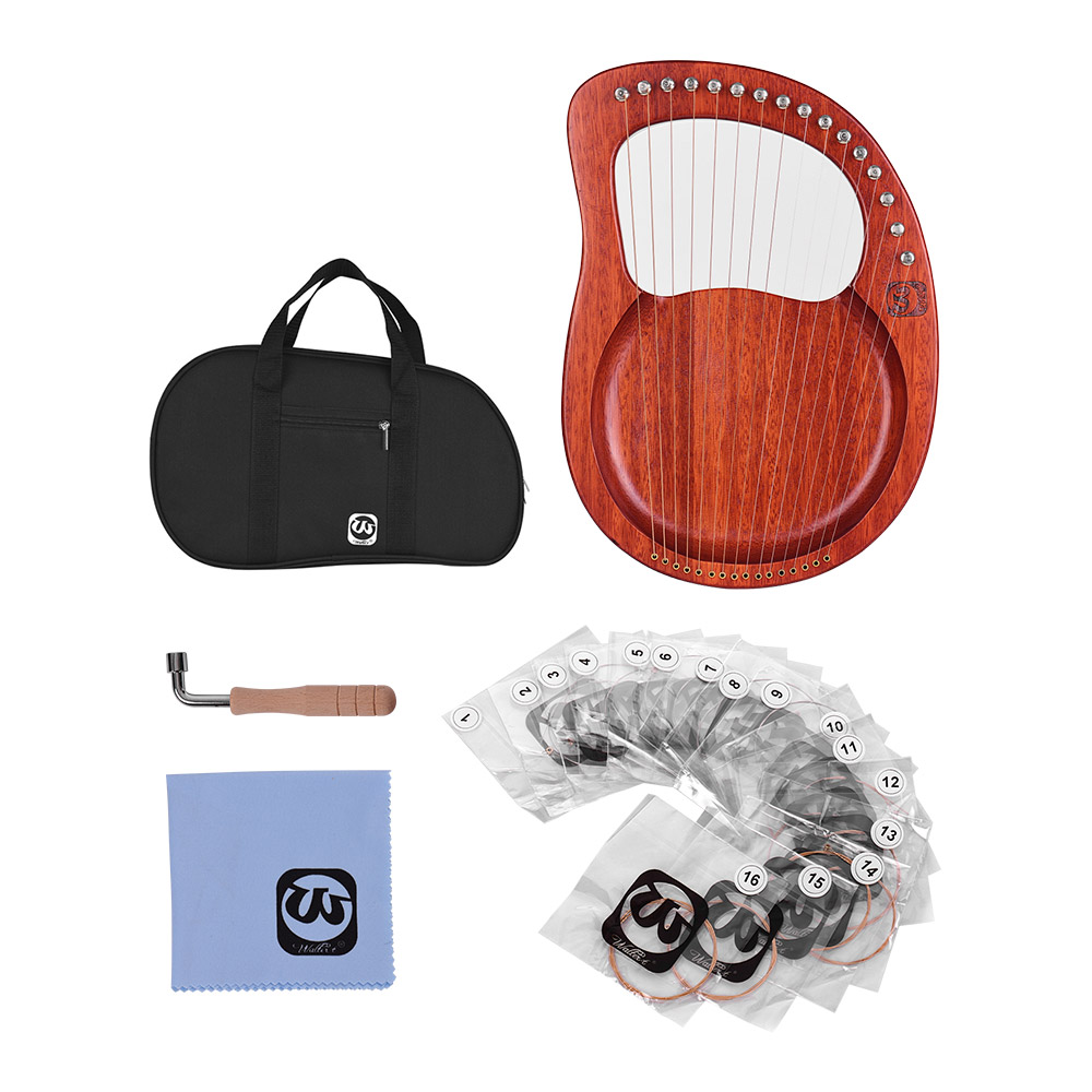 Walter.t 16-String Wooden Lyre Harp Metal Strings Mahogany Solid Wood String Instrument With Carry Bag WH16