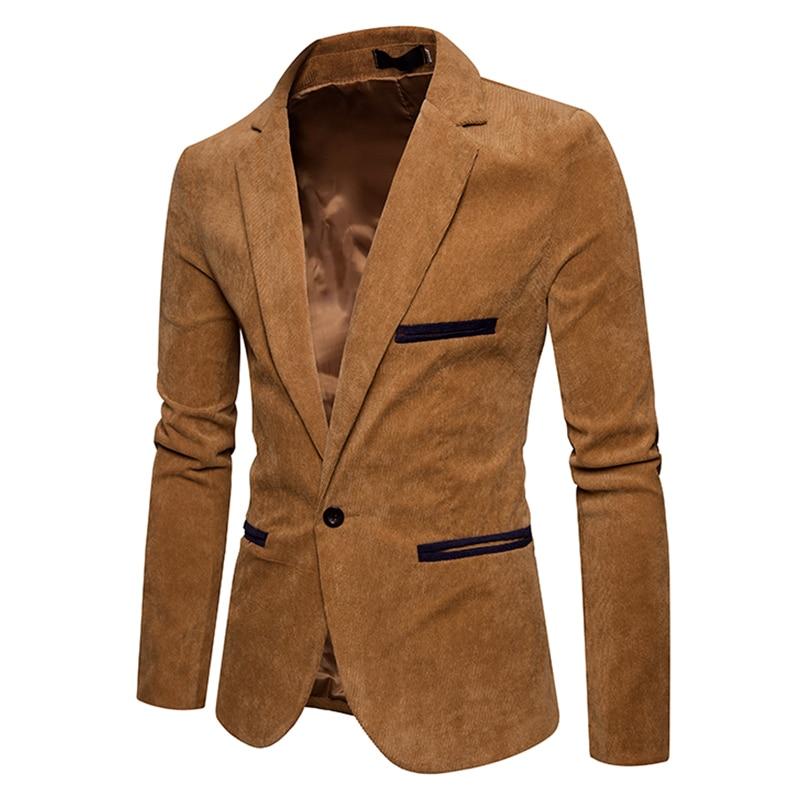 New autumn men casual suit jacket men solid color Corduroy Worsted Fabric suit Blazers pocket Button decorate men's suit coat