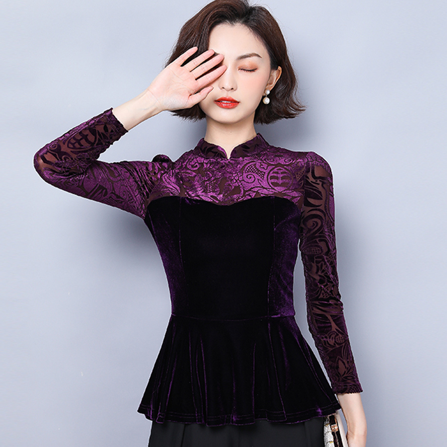 Chinese Style Gold Velvet Bottoming Vintage Shirt 2019 Autumn Long Sleeve Fashion Plus Size Blouse Shirt Top Women Blusas