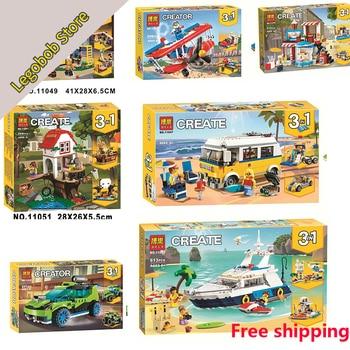 Nowy 13 sztuk/zestaw Creator 3w1 serii 31083 Cruising Adventures 31081 modułowy Skate House 31079 Sunshine Surfer Van
