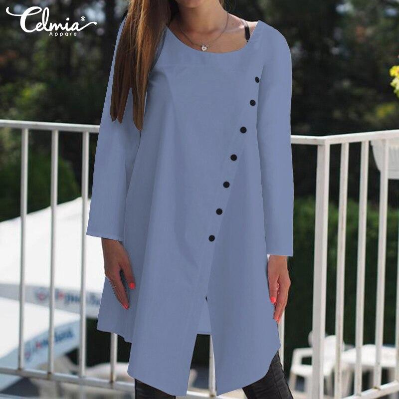2019 Celmia Vintage Blouses Women Asymmetrical Tunic Tops Autumn Long Sleeve Buttons Casual Split Long Shirts Plus Size Blusas