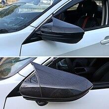 New 2pcs Carbon Fiber Left Right Door Side Mirror Trim Cap Decoration Parts For Honda Civic 2016 2017 2018