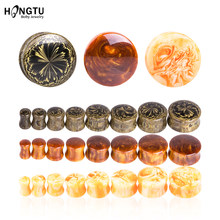 Einzigartige Harz Ohr Stecker Unisex Acryl Plugs und Tunnel Runde Ohr Bahre Gauge Expansion Flesh Tunnel Piercing Schmuck 6- 20mm(China)
