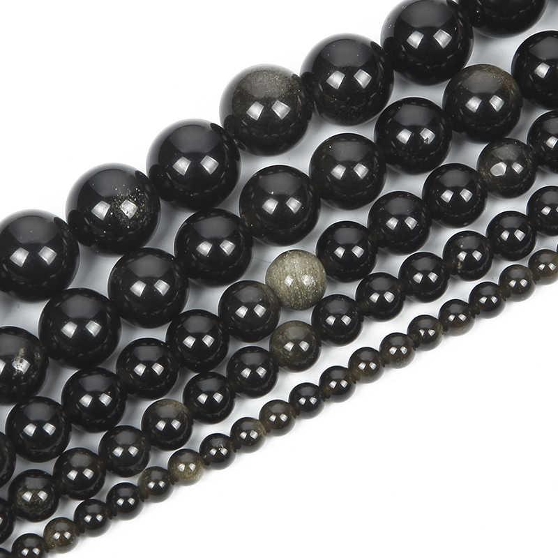 الحجر الطبيعي سبج الذهب الأسود الأوردة حلية مستديرة الخرز فضفاض لصنع المجوهرات لصنع الخرز الإبرة لتقوم بها بنفسك ستراند 6/8/10/12 ملليمتر